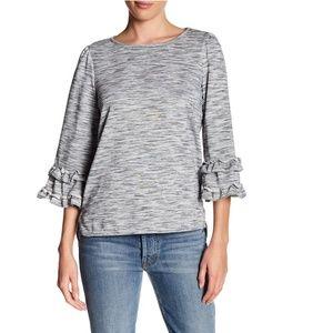 Max Studio 3/4 Sleeve Ruffle Sleeve Knit Tee Top